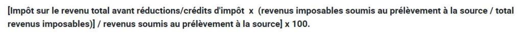 Formule calcul taux prelevement a la source